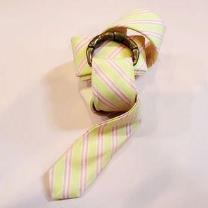 J Crew Preppy Tie D-Ring Belt Pink Green White M/L